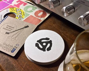 45 Record Adapter Letterpressed Coasters - 8 pack