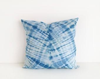 Handmade Indigo Cushion Cover, Indigo Pillow Cover, Gift For Her, Home Decor, Tie Dye Pillow, Cushion Cover,Shibori Indigo Bedding