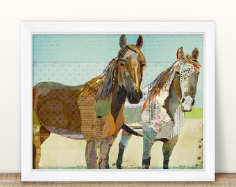 Two Horses Farmhouse Style Collage Art Print - A Whimsical and Colorful 8x10 or 11x14 Home & Wall Decor Fine Art Print for Horse Lovers