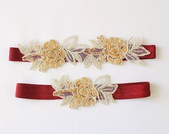 Light Gold and Tan Embroidery Flower Lace with Wine Elastic Wedding Garter Set, Tan Garter Set, Burgundy Toss Garter / GT-34