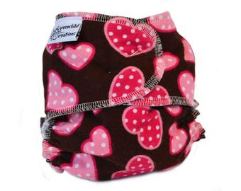 Cloth Diaper Fitted, One Size, Hearts, Flannel - Add Snaps, Hook and Loop, or Pins