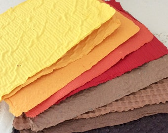 Homemade Paper - Fall Colors - Handmade Recycled Paper - Autumn colors - 9 sheets - acid free - textured  paper