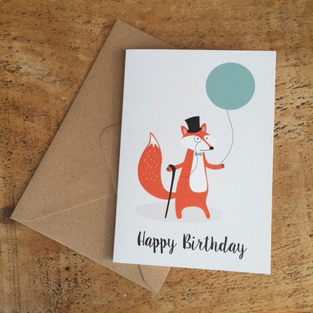 Happy birthday card fox birthday card card for her funny zoom bookmarktalkfo Images