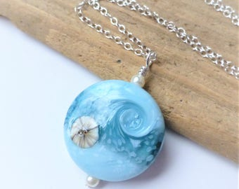 Blue Ocean Wave Beach Necklace, Lampwork Glass Pendant, Beach Jewelry, Beach Wedding, Gift For Her, Bridesmaid Gifts, Christmas Gift