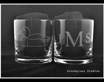 Personalized Etched Duck Hunter Rocks Glasses by Jackglass on Etsy