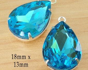 Aqua glass beads - 18x13mm teardrops - faceted rhinestone earring drops or pendants - one pair of blue glass gems