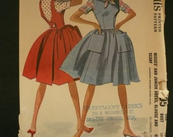 Vintage McCallsPattern 6705   Junior Back Wrapped Dress Blouse and Scarf  Size 13
