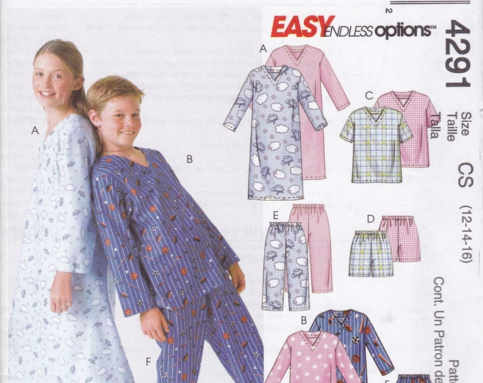 Free Us Ship Sewing Pattern McCall's 4291 Kids Boys Girls Flannel Nightgown Pjs Pajamas Uncut  Top Shorts Pants Size 12 14 16 Easy