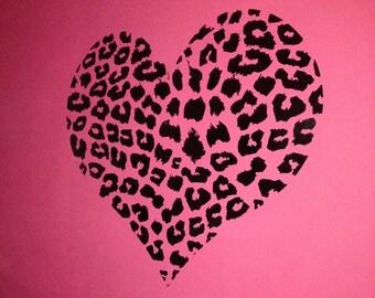 Cheetah Heart Black Wall Decal (RD-Decal#037)
