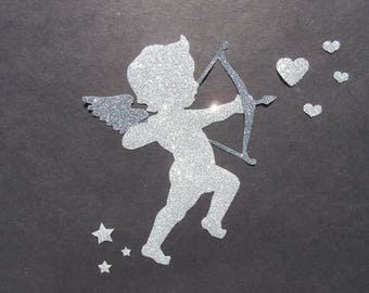 Applied fusible Angel Cupid pailete silver and gray fabric. Fusible spangled, glittery iron on patch iron-on