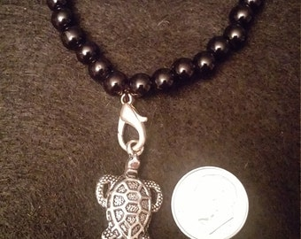 Black Glass Sea Turtle Charm Bracelet