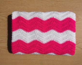 Ready To Ship Pink and White Crochet Baby Blanket/ Chevron Baby Blanket/ Ripple Baby Blanket/ Baby Girl Blanket/ Pink Baby Blanket