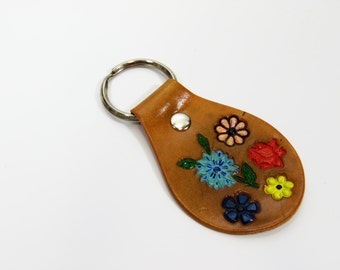 Hand Painted Flowers Leather Key Fob, Leather Keyring, Leather Keychain, Leather Key Holder Blue Red Pink Yellow