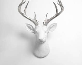 Deer Head Wall Mount Decor  - The XL Frankfurt- White + Silver Deer Decor Wall Hanging - Fake Animal Head White Faux Taxidermy Stag Mounts