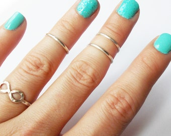 Any Size .925 Sterling Silver Knuckle Rings // Stackable // Sterling Silver Midi Rings // Above the Knuckle Rings