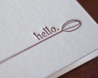 Hello Letterpress Note Cards - Box of 8