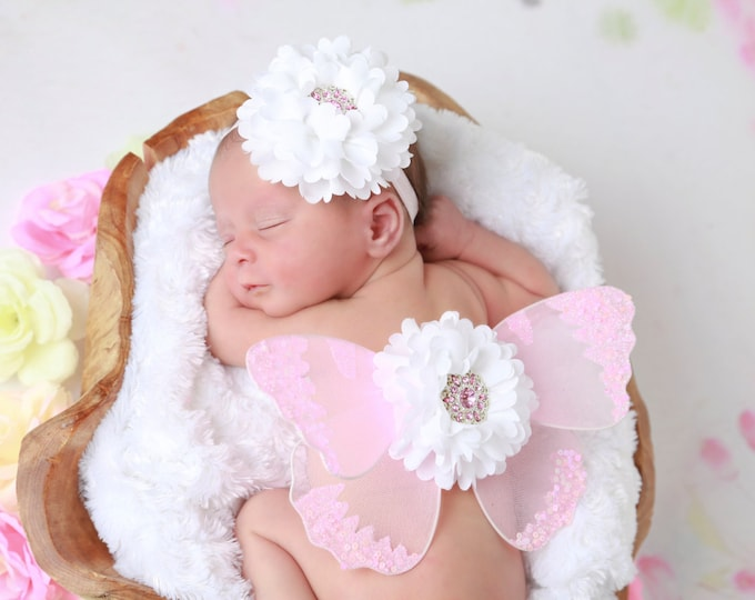 Butterfly wings in pink for newborn AND/OR matching flower headband, newborn photos, photoprop, newborn photographers, Lil Miss Sweet Pea