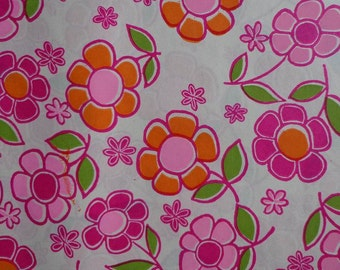 Vintage 1970s Gift Wrap Mod Wrapping Paper- Pink Posies 1 Sheet