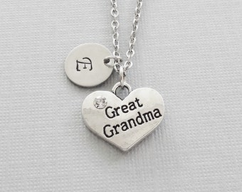 Great Grandma Necklace, Great Grandmother Heart Charm, Mothers Day Gift, Silver Jewelry, Personalized Monogram, Hand Stamped Letter Initial