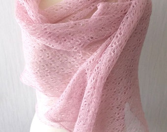 Linen Scarf Lace Shawl Knitted Natural Summer Wrap in Light Pink