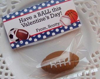 Printable Valentine Sports Balls Large Bag Toppers