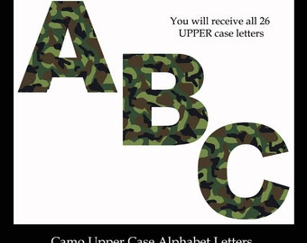 GREEN CAMO LETTER Clipart Alphabet abc Camouflage Digital Graphics Scrapbook Embellishment Scrapbooking Card Making Teacher School Clip Art