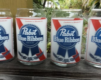 Classic Pabst Blue Ribbon Beer Glasses. Set of Four