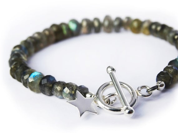 Labradorite & Silver Bracelet With Star - Sterling Silver