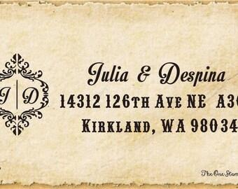 Custom Family Return Address Stamp-- Initial -Wedding Present, Bridal Shower Gift, Housewarming Gift- Personalized Return Address Stamp