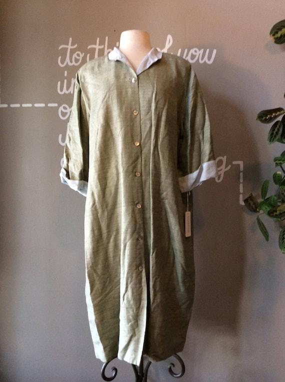NWT Worn Collar NOS Sylvia Mandarin Vintage Blue Dress Jacket Green RARE Tunic Silk Dress 90s Heisel Nubbed Never Minimalist Designer U4n6S0q