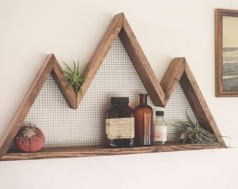 Mountain Wall Art, Shelf, Mountain Home Decor, Wall Hanging, Wall Shelf,