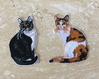 Iron On Patches, Embroidered Cat Badges