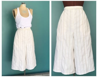 70s Crop High Waist Palazzo Pants, Wide Leg Pants, Cropped, Gaucho Pants, Culottes, Loose Fit, Oversized Pants, Baggy Pants, Small Medium