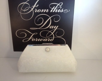 Ivory Lace Over Ivory Satin Clutch Purse with Pearl Rhinestone, Bridesmaid Clutch, Bridal Purse, Wedding, Bridesmaid Gifts, Special Occasion