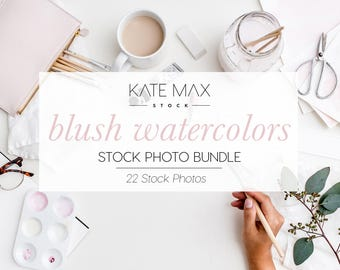 Blush Pink Watercolors Stock Photo Bundle / Styled Stock Photos / 33 KateMaxStock Lifestyle Branding Images for Your Business