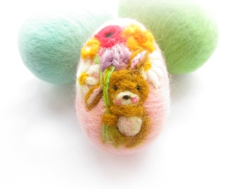 Easter Egg,felted Egg,easter Bunny,Needle Felt,Miniature art
