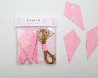 Etiquettes de cadeaux de luxe diamant rose, tags peints or, cadeaux, étiquettes de cadeau unique, guirlande diamant