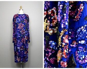 PINK & PURPLE Sequined Dress // Sequin Embellished Dress // Long Sleeved Sequined Beaded Trophy Dress US Size 12