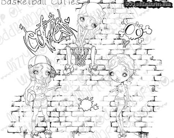 Digi Stamp Instant Download Big Eye Girl Digital Art ~ Ya Going Down Basketball Cuties Image No. 278 by Lizzy Love