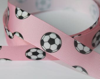 """7/8"""" inch Soccer Balls on Light Pink - Sports - Printed Grosgrain Ribbon for Hair Bow TheFabFind"""