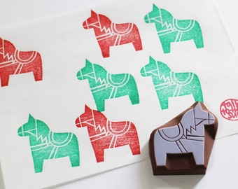 dala horse rubber stamp | woodland animal | diy birthday christmas card making | gift wrapping | kids' crafts | hand carved by talktothesun