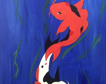 """Canvas Art Print, Koi Fish Painting, """"Forever Together"""""""