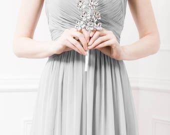 Bridesmaid Bouquet of Silver Flowers - Petite Amelia Bridesmaid Bouquet - Wedding Bouquet Keepsake for your Bridesmaids