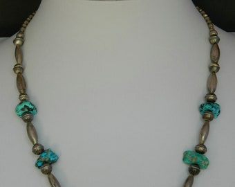 """Native American Navajo Old Pawn Turquoise Handmade Sterling Silver Bead Necklace 17 - 20 3/8"""""""
