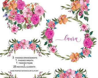 FLASH SALE Hand Painted Watercolor Pink Roses Clipart Set Arrangements Wreaths & Frame Separate Elements Valentine's Day Commercial Use | S8