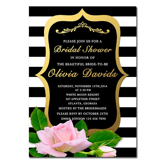 Items similar to bridal shower invitation floral black white items similar to bridal shower invitation floral black white stripe bridal shower invite pink rose gold bridal shower diy printable on etsy filmwisefo