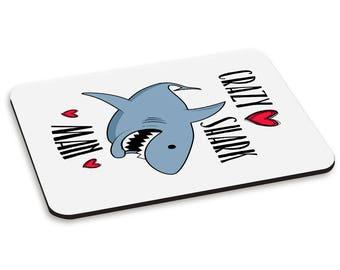 Crazy Shark Man PC Computer Mouse Mat Pad