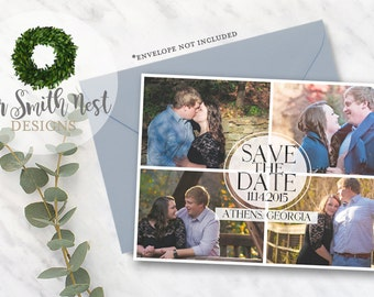 Save the Date / Simple Collage Card DIY PRINTABLE Customizable Digital Print