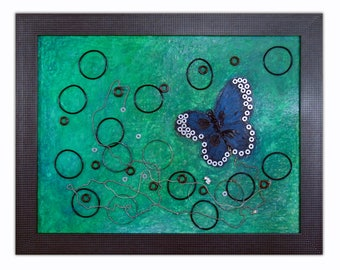 Butterfly, mixed media, found object collage, original framed wall art
