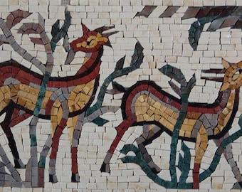 Deer Animals Marble Mosaic